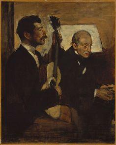 Edgar Degas - Degas' Father Listening to Lorenzo Pagans Playing the Guitar [c.1869-72]