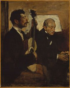 Edgar Degas - Degas' Father Listening to Lorenzo Pagans Playing the Guitar [c.1869-72]