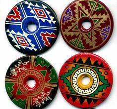 Southwest Pendants 10 Differant Native Designs Painted Donut Beads Large 38mm Tucson Gem Show, Native Design, Southwest Style, Nativity, Native American, Decorative Plates, Pendants, Beads, Painting