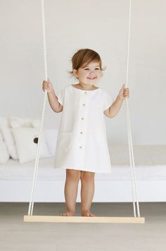 Handmade White Dress With Gold Buttons   MyWhiteCup on Etsy
