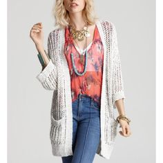 Free People • Ivory Open Knit Cardigan Gently loved! Barely worn. Super lightweight and goes with everything! Make me a reasonable offer.   ❌No trades ❌No PayPal ❌No asking for the lowest price Free People Sweaters Cardigans
