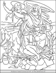 Abraham is Tested - Sacrifice Isaac Coloring Page - TheCatholicKid.com