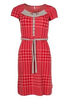 Blutsgeschwister kjole HEMDSÄRMEL LIESL DRESS cinnamon checker hindbær rød