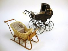 Lot: 225: Roberson Perambulator and Hardy Sleigh, Lot Number: 0225, Starting Bid: $100, Auctioneer: Ron Rhoads Auctioneers, Auction: DOLLHOUSE & MINIATURE & TOY  AUCTION, Date: March 27th, 2010 PDT