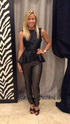 Gracia black leather top with BCBG pants! Shop Ciao bella! Johnson city