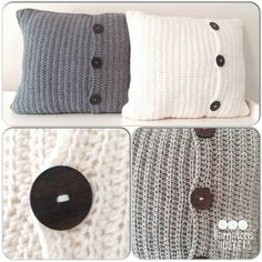 Crochet pillow shams. Cable stitch to right of buttons, and plain stitch to left. (Contrasting Colors?) Make one decorative pillow to go in front of pillows.