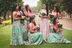This looks like a solid squad . Indian Bridesmaid Dresses, Bridesmaid Saree, Bridesmaid Outfit, Bridesmaids And Groomsmen, Wedding Dresses, Floral Bridesmaids, Bridal Photography, Candid Photography, Wedding Photo Inspiration