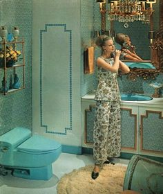 A 1960s grooviness (as well as an updated edgy design for toilets) is evident in the turquoise fixtures of this American Standard ad from 1968, billed as the height of bathroom fashions at the time.