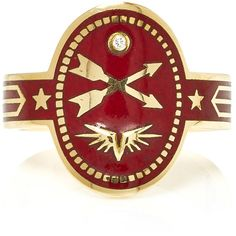 Foundrae Crossed Arrows Cigar Band in Bordeaux ($2,850) ❤ liked on Polyvore featuring jewelry, rings, red, cross jewelry, red jewelry, wing jewelry, band jewelry and wing ring