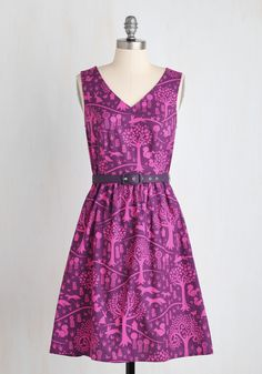 Folks and Dreams Dress. If youre pining for a frock thats both flirty and folksy, then this mulberry and fuchsia A-line will fulfill your fantasy! #purple #modcloth