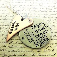 I know quite a few teachers I would love to give this gift, but the price.....CUSTOM Teacher's Gift. it takes a big heart to by TheLullabyLeaf, $26.00