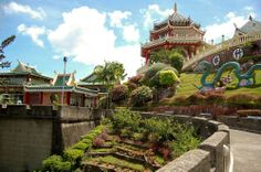 Pagoda and dragon sculpture of the Taoist Temple in Cebu