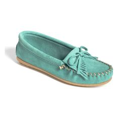 Minnetonka 'Kilty' Suede Moccasin ($40) ❤ liked on Polyvore