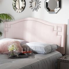 Upholstered in a soft, foam-filled velvet, the Lilian Velvet Headboard from Baxton Studio adds elegant style to any bedroom décor. The edges of the headboard are embellished with a striking pattern of silver nailheads for added glamour. Pink Headboard, Full Size Headboard, Velvet Headboard, Contemporary Headboards, Leggett And Platt, Baxton Studio, Panel, 3 D, Home