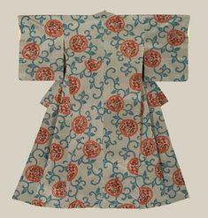 Mid-Showa era (1950-1970). A meisen (ikat) silk kimono with a cotton lining.
