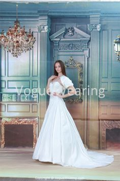 Sweetheart Court Train Satin Corset-back A-line Wedding Gown with Jacket -Wedding Dresses