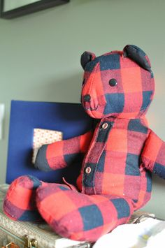 Teddy bear made from dad's old shirts