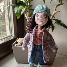 Háčkovaná panenka 28cm převlékací Crochet Dolls, Crochet Doilies