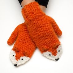 Hand Knit Fox Mittens