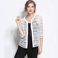 2017 Plus Size Wome Clothing 5XL 4XL XXXL Ladies White Lace Blouse Summer Cardigan Coat Black Crochet Sexy Female Blouse Shirt #Affiliate