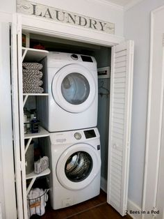 s 10 space saving hacks for your small laundry room, laundry rooms, Use shutter doors in a laundry closet Small Laundry Rooms, Small Closets, Laundry Room Organization, Laundry Room Design, Tiny Closet, Clothing Organization, Open Closets, Laundry Decor, Small Space Organization