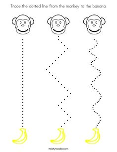 Trace the dotted line from the monkey to the banana Coloring Page Preschool Zoo Theme, Color Worksheets For Preschool, Preschool Coloring Pages, Preschool Writing, Animal Worksheets, Preschool Learning Activities, Writing Activities, Vocabulary Activities, Monkey Coloring Pages