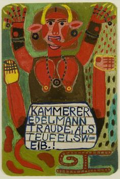 Edeltraude Kammerer as Devil's Woman  1992  13.5 x 9 inches (34.3 x 22.9 cm)  enamel and mixed media on board
