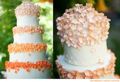 Four Tiers of our citrus cake were decorated with hand-made fondant and sugar flowers in graduating shades of orange. Swiss dots decorate the base of each tier to echo the dots on the milk glass used throughout the event Gorgeous Cakes, Pretty Cakes, Amazing Cakes, Citrus Cake, Couture Cakes, Gateaux Cake, Wedding Cake Flavors, Cool Wedding Cakes, Sugar Flowers
