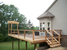 Deck Skirting Ideas with Pergola Here's a free pergola plan to build a pergola that goes over an existing deck. The design includes cables and exposed bolts for a modern twist.