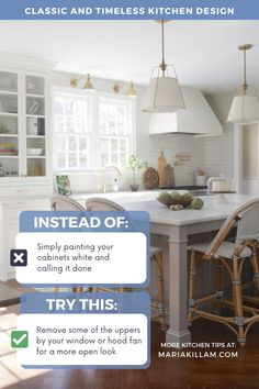 Maybe all your kitchen needs is one cabinet taken down on either side of the window above the sink? ANYTHING but the same old wall of uppers and lowers is what your kitchen needs RIGHT NOW before you choose a white paint colour.