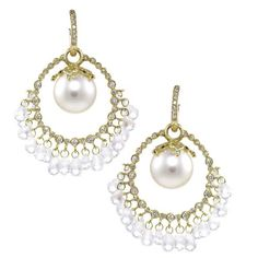 Beautiful this pair of Moonstone Cha Cha Pearl #earrings, in 18k gold with a white South Sea #pearl center and diamonds. Drop Dead Gorgeous Collection | Erica Courtney