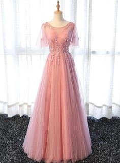 Pink Chiffon Elegant Party Dress Long, Handmade Formal Gowns Pro – BeMyBridesmaid Source by sleeve prom dress Short Sleeve Prom Dresses, Prom Dresses Long Pink, Senior Prom Dresses, Prom Dresses For Teens, A Line Prom Dresses, Ball Dresses, Ball Gowns, Bridesmaid Dresses, Formal Dresses
