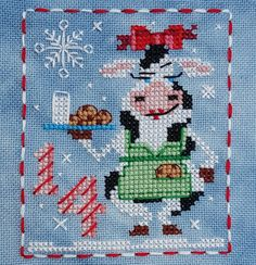 Animal Advent Calendar Day 14 Cassie Cow.  Counted Cross Stitch. 2016