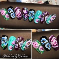 One stroke nail art using acrylic paint by #crystalnails