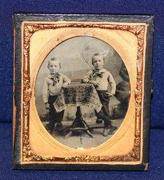 Antique Tintype Photo of Two Boys in Half Case | eBay