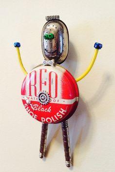 robot sculpture junk robot found object robot by LovableLeftovers