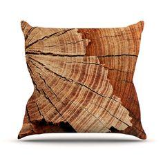 "Susan Sanders ""Rustic Dream"" Brown Wood Outdoor Throw Pillow - KESS InHouse  - 1"