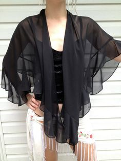 Sheer Black Ruffle Evening Shawl by EuphoriaNineDesigns on Etsy, $25.00