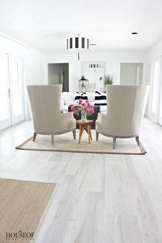 The House of Silver Lining: Beach Cottage Renovation Reveal: Living Room Light Grey Wood Floors, White Hardwood Floors, White Laminate Flooring, Grey Vinyl Flooring, White Washed Floors, Living Room Hardwood Floors, Luxury Vinyl Flooring, White Tile Floors, Home Depot Flooring