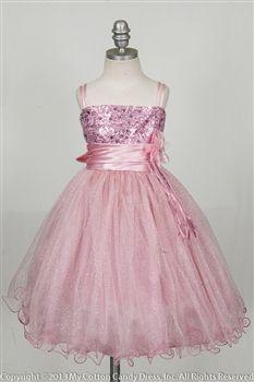 Rose sequence bodice flower girl dress