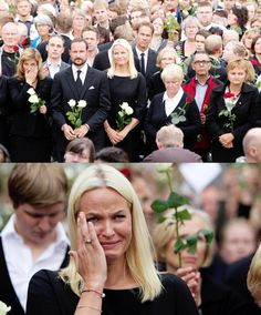 Photo #1: Norwegian Royal Family attend 'rose march' in Oslo on 7/26/11. Oslo was dressed in roses as 200 000 people attended a mass rally in memory of the victims of the twin terror attacks on that took place on Friday. Photo #2: Crown Princess Mette-Marit. Her step-brother, a police officer, was killed on the island.