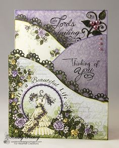 Joyfully Made Designs by Kathy Roney using Heartfelt Creations' new foldout cards and border dies with Blushing Rose Papers
