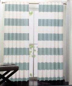 Wonderful Hillcrest Aqua Teal Ivory Striped Window Curtain Panels 52x96 PAIR Hidden  Tabs