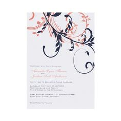 Blue and Pink Double Floral Wedding Invitation  This beautiful chic wedding invitation features a bright White background with dark navy blue and coral pink flourishes that give it a pretty and sophisticated look. Matching RSVP also available! A stylish pattern great for spring or summer weddings or a bridal shower.