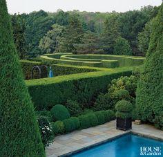 Traditional Garden in Connecticut Topiary Garden, Garden Pool, Topiaries, Landscape Architecture, Landscape Design, Garden Design, Formal Gardens, Outdoor Gardens, Dream Garden
