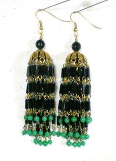 VTG-Art-Deco-Etruscan-4-Inches-Long-Tassel-Earrings-Black-Jade-Green-Glass-Beads
