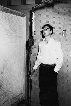 Buddy Holly recording at Bradley's Barn in Nashville, July 22, 1956