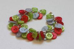 Knopfarmband Erdbeerhimmel von Knopfmädchen auf DaWanda.com