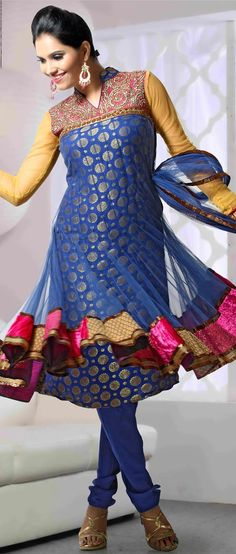 #Blue Net  #Anarkali Churidar Kameez @ $169.51