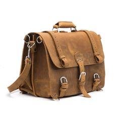 Premium Leather Briefcase, Genuine Full-Grain Leather